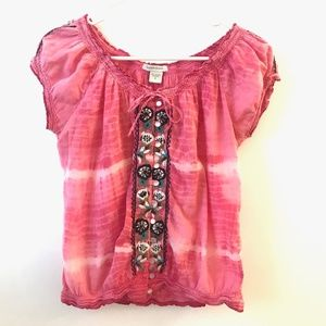 Boston Proper Women's Pink Embroidered Top Small